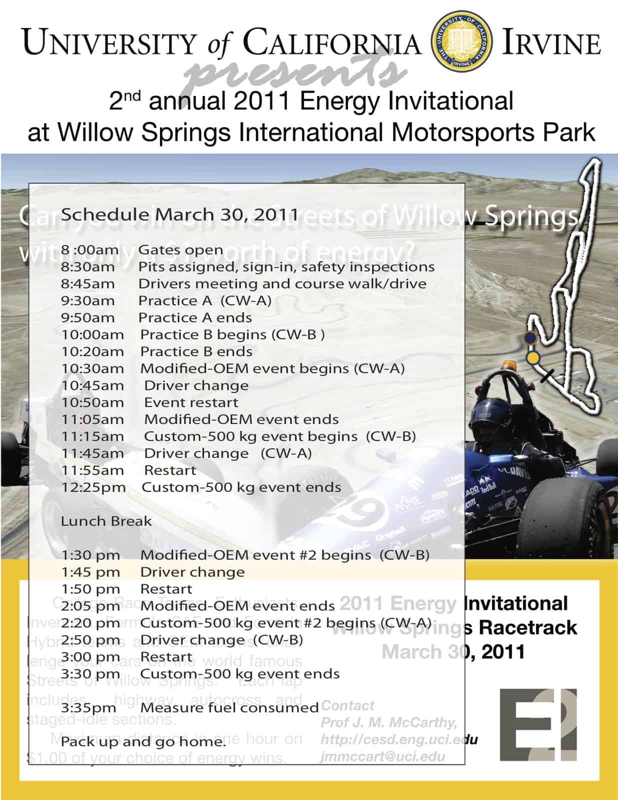 Schedule for 2011 Energy Invitational