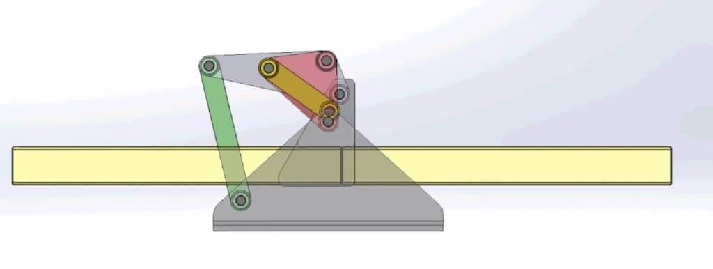 A six-bar linkage designed to fold a structure